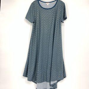 Lularoe Carly Hi Lo Dress Metallic Chevron Print